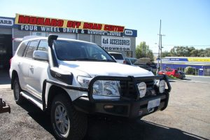 Photo of a Landcruiser with Snorkel, Spolights, ARB Bull Bar, Rock Slider upgrades in Canberra